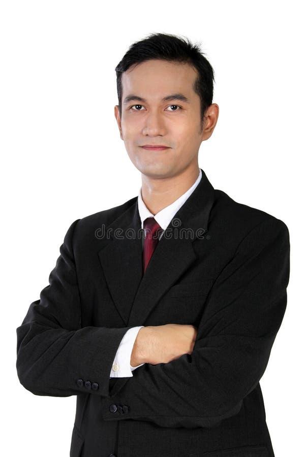 Jeune homme d'affaires asiatique sûr, d'isolement sur le blanc image stock