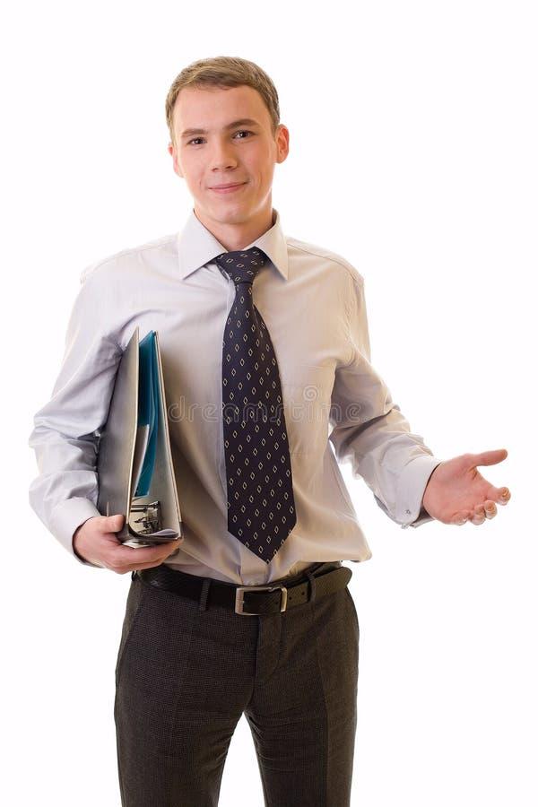 Jeune homme d'affaires avec des documents photo stock