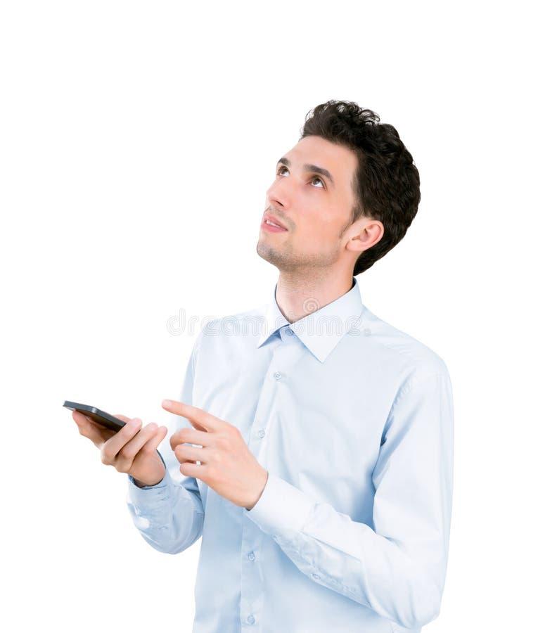 Jeune homme d'affaires avec le téléphone portable photographie stock