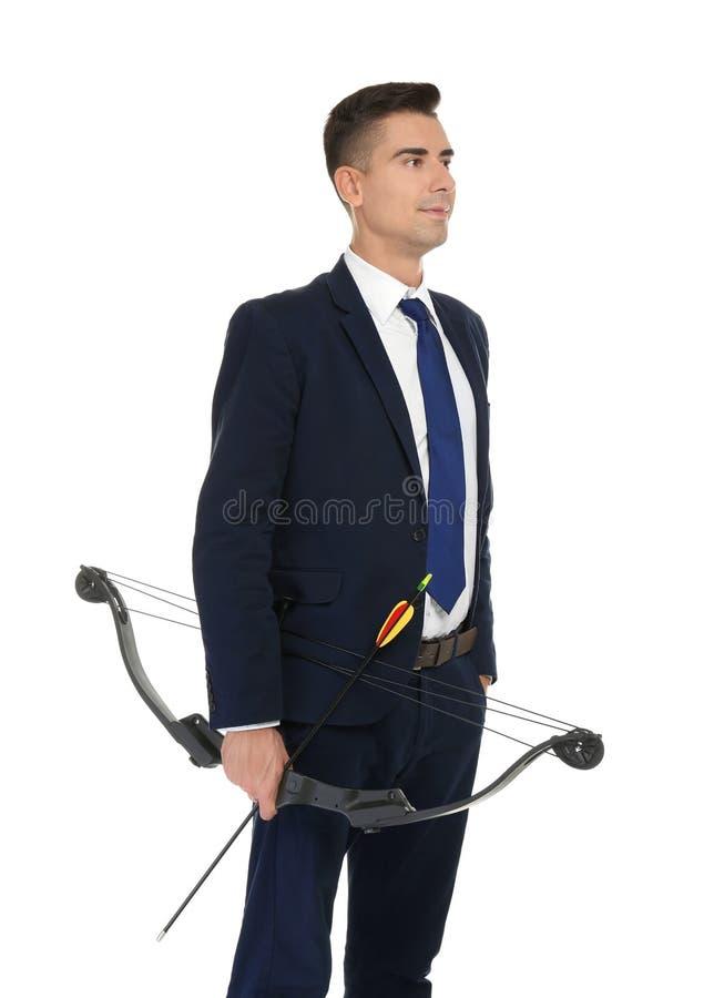 Jeune homme d'affaires avec le tir à l'arc photos libres de droits
