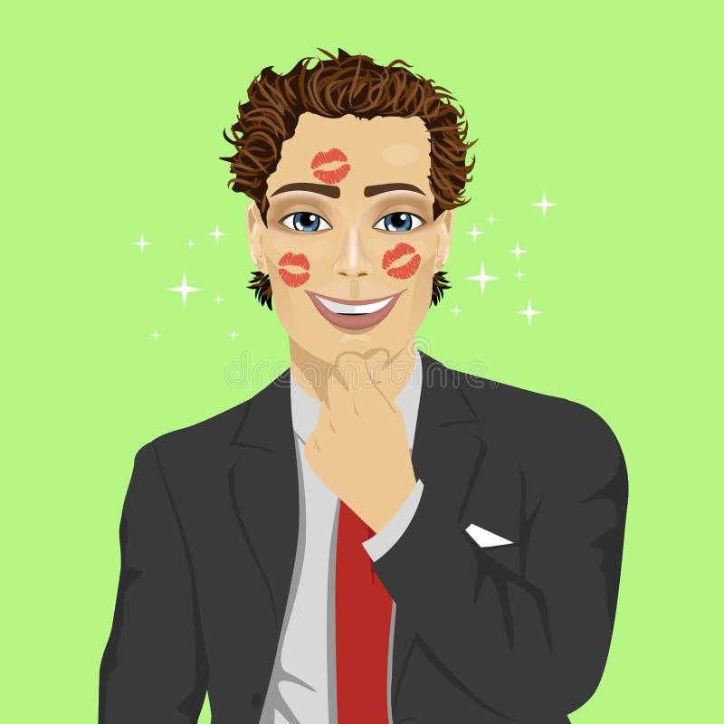 Jeune homme d'affaires avec le visage plein des baisers illustration libre de droits