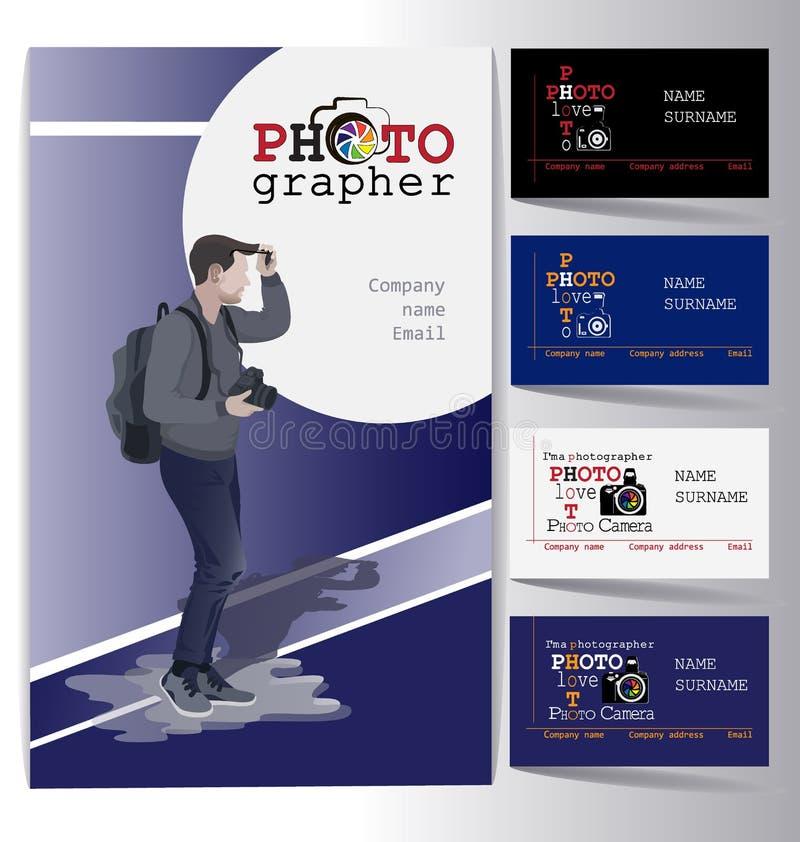 Jeune homme d'affaires avec une caméra et un assortiment de cartes de visite professionnelle de visite positionnement illustration de vecteur