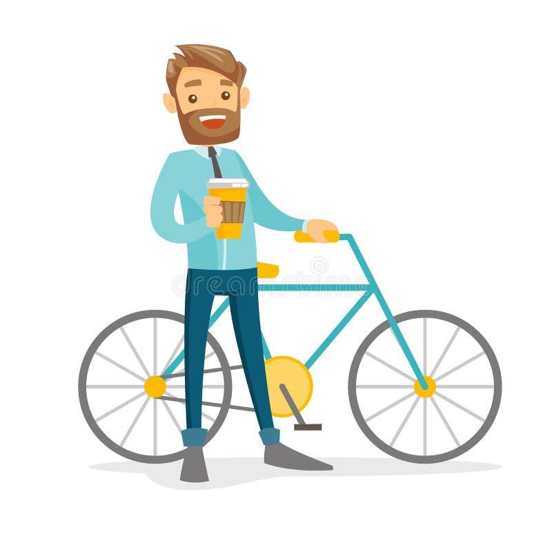Jeune homme d'affaires blanc caucasien montant une bicyclette illustration stock