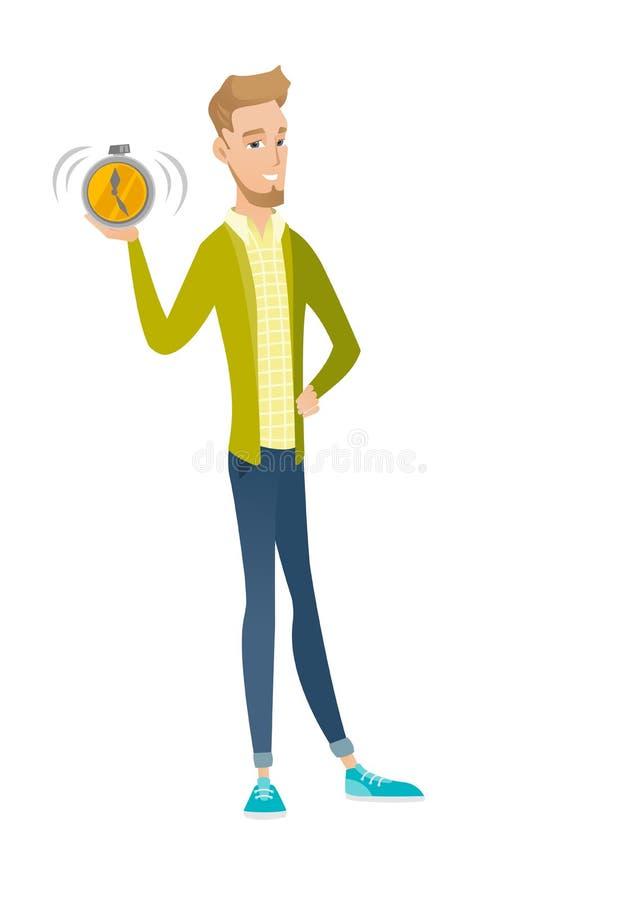 Jeune homme d'affaires caucasien tenant le réveil illustration de vecteur
