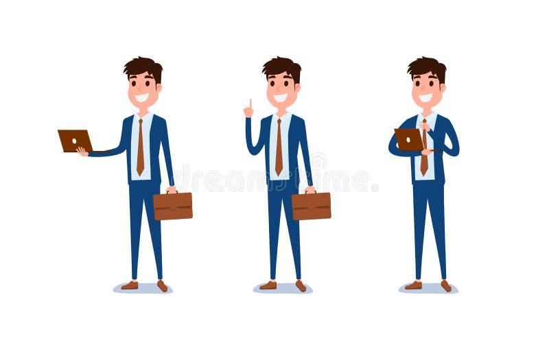 Jeune homme d'affaires Character Design L'ensemble de type agissant dans le costume tient l'ordinateur portable, différentes émot illustration stock