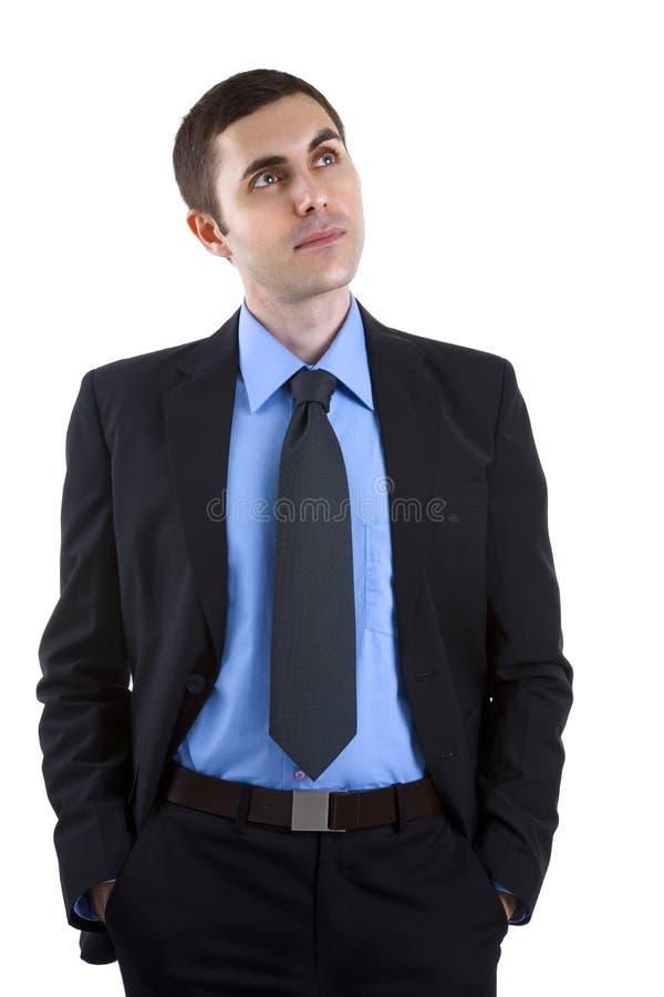 Jeune homme d'affaires d'isolement sur le blanc photos stock