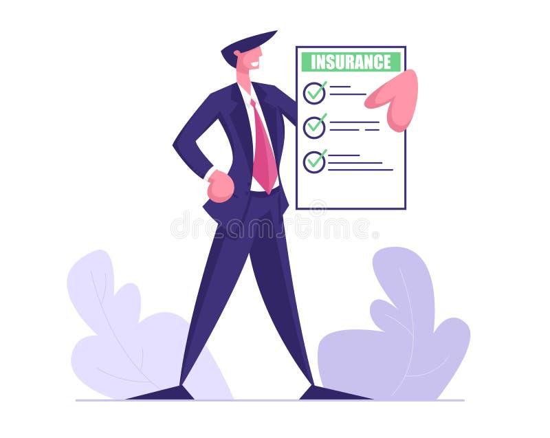 Jeune homme d'affaires dans le certificat formel de police d'assurances de prise de costume avec les coches verts Protégez les in illustration stock