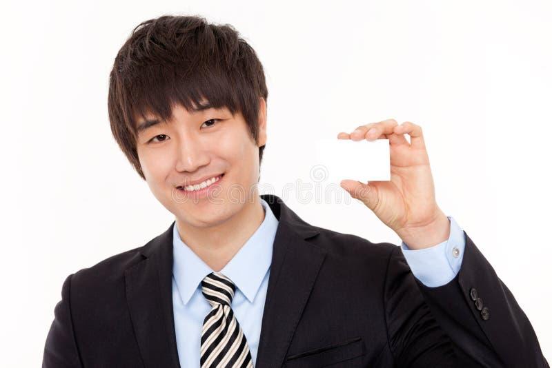 Jeune homme d'affaires et carte vide photos libres de droits