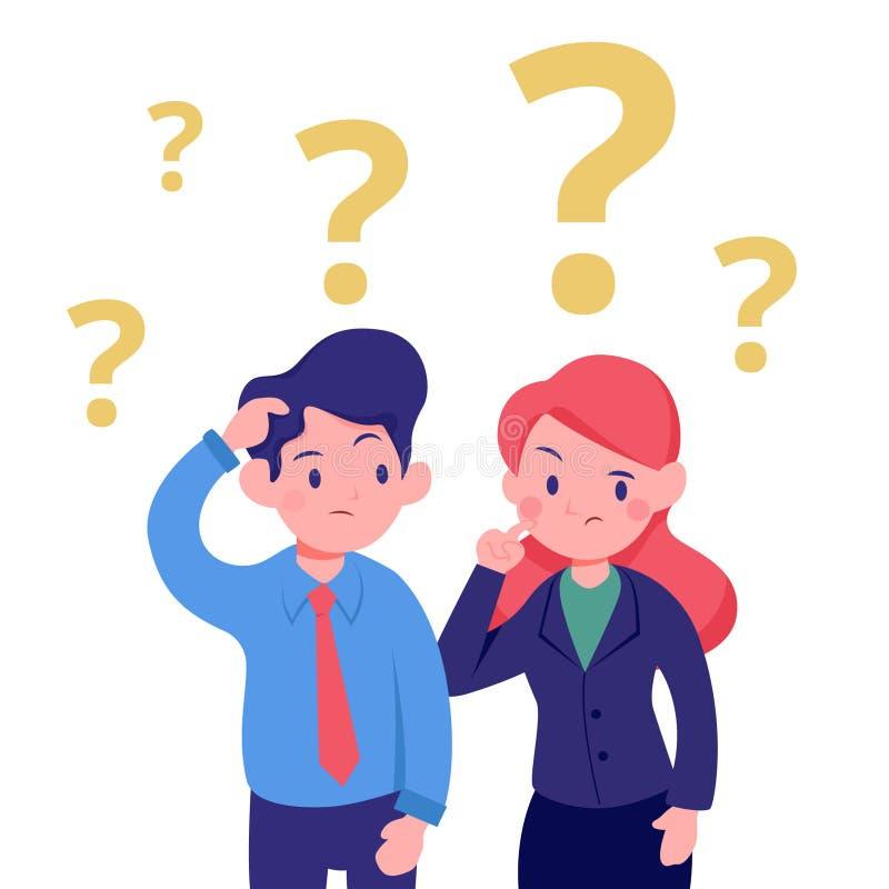 Jeune homme d'affaires et illustration de pensée de bureau confuse par femme illustration libre de droits