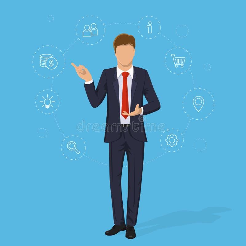Jeune homme d'affaires Homme d'affaires dans le costume sur le fond bleu illustration stock