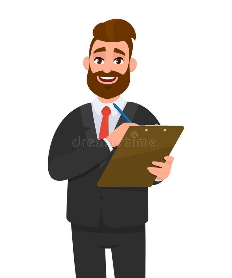 Jeune homme d'affaires portant un rapport de presse-papiers de participation de costume, liste de contrôle, document et écrivant  illustration libre de droits
