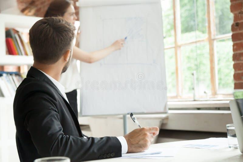 Jeune homme d'affaires regardant le conseil avec le diagramme de déroulement des opérations images libres de droits