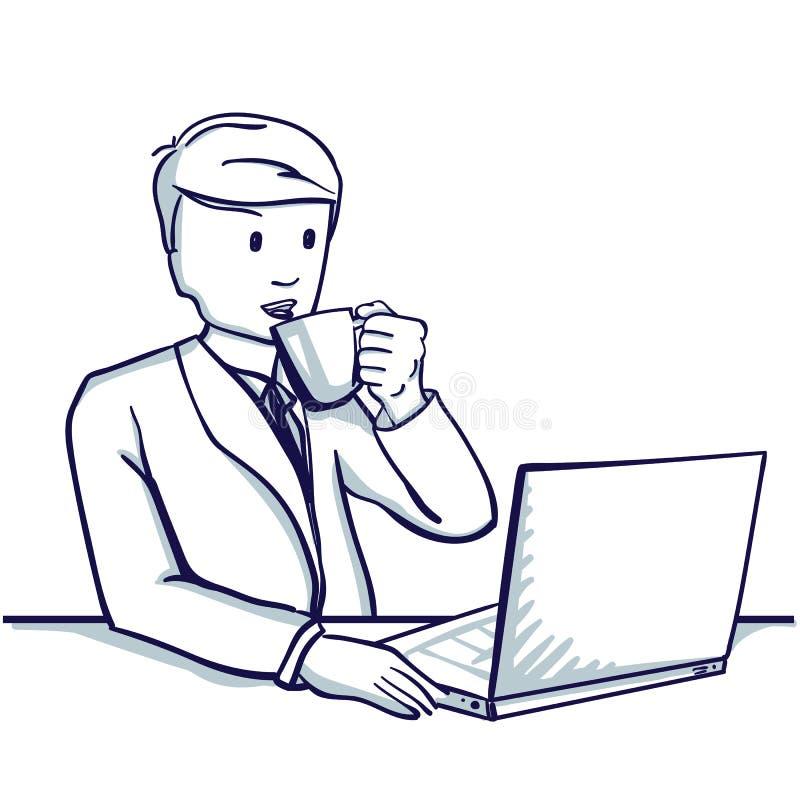 Jeune homme d'affaires s'asseyant à la table, à côté de son ordinateur portable et thé potable illustration libre de droits