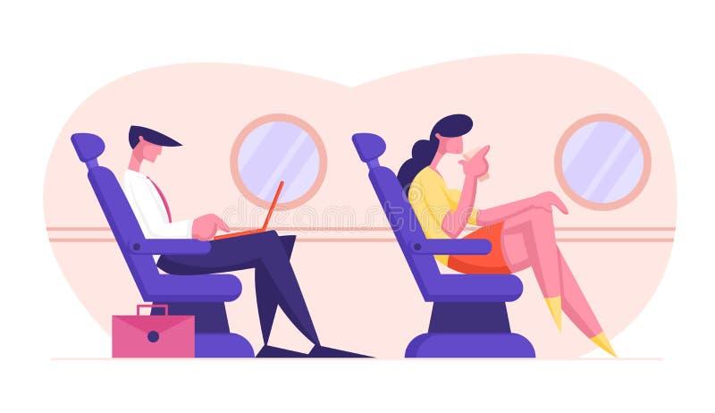 Jeune homme d'affaires s'asseyant dans l'avion confortable Seat et travaillant sur l'ordinateur portable, boisson potable de femm illustration de vecteur
