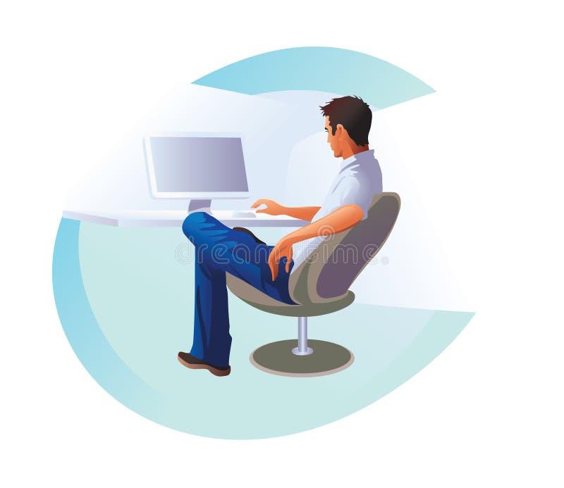 Jeune homme, homme d'affaires s'asseyant et travaillant dans le bureau à l'ordinateur Illustration de vecteur sur la conception b illustration de vecteur