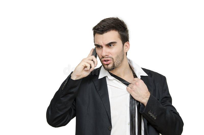 Jeune homme d'affaires sous l'effort images stock