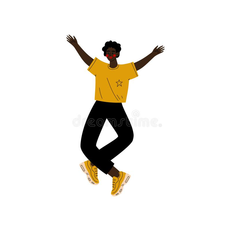 Jeune homme d'Afro-américain sautant heureusement célébrant l'événement important, soirée dansante, amitié, vecteur de concept de illustration libre de droits