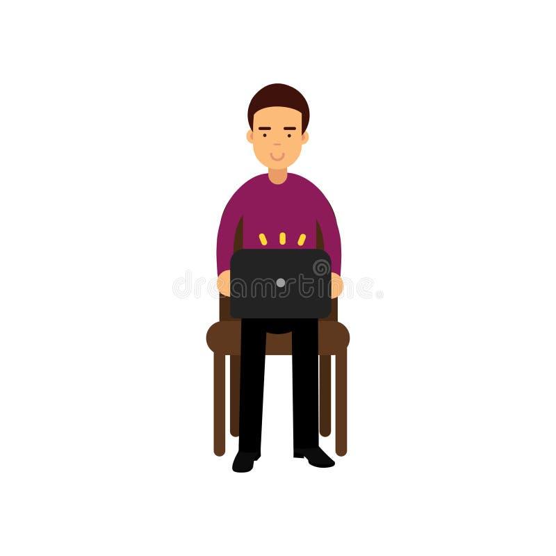 Jeune homme dans des vêtements sport se reposant sur une chaise fonctionnant avec l'ordinateur portable, étudiant masculin employ illustration de vecteur