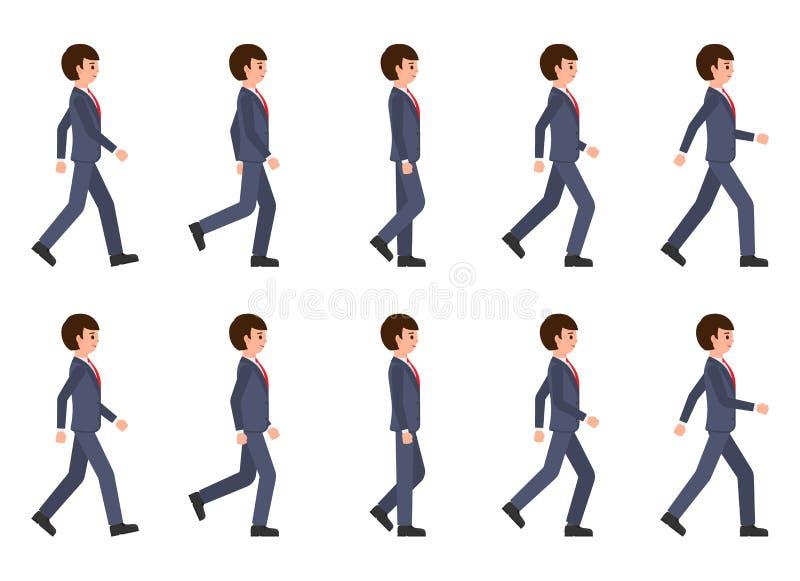Jeune homme dans l'ordre de marche de costume bleu-foncé Illustration de vecteur de personne mobile de personnage de dessin animé illustration stock