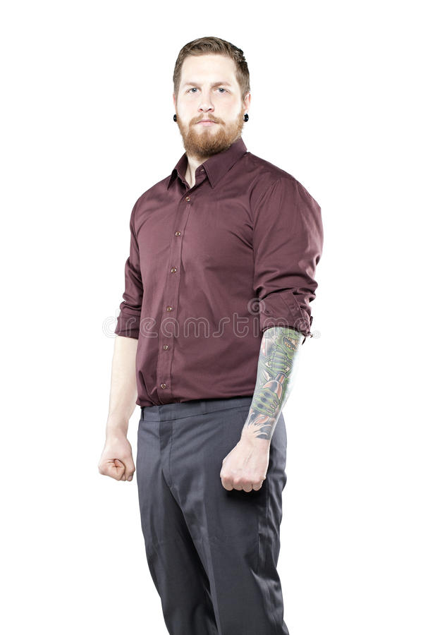 jeune homme dans le costume avec des tatouages image stock image du hippie type 31718297. Black Bedroom Furniture Sets. Home Design Ideas
