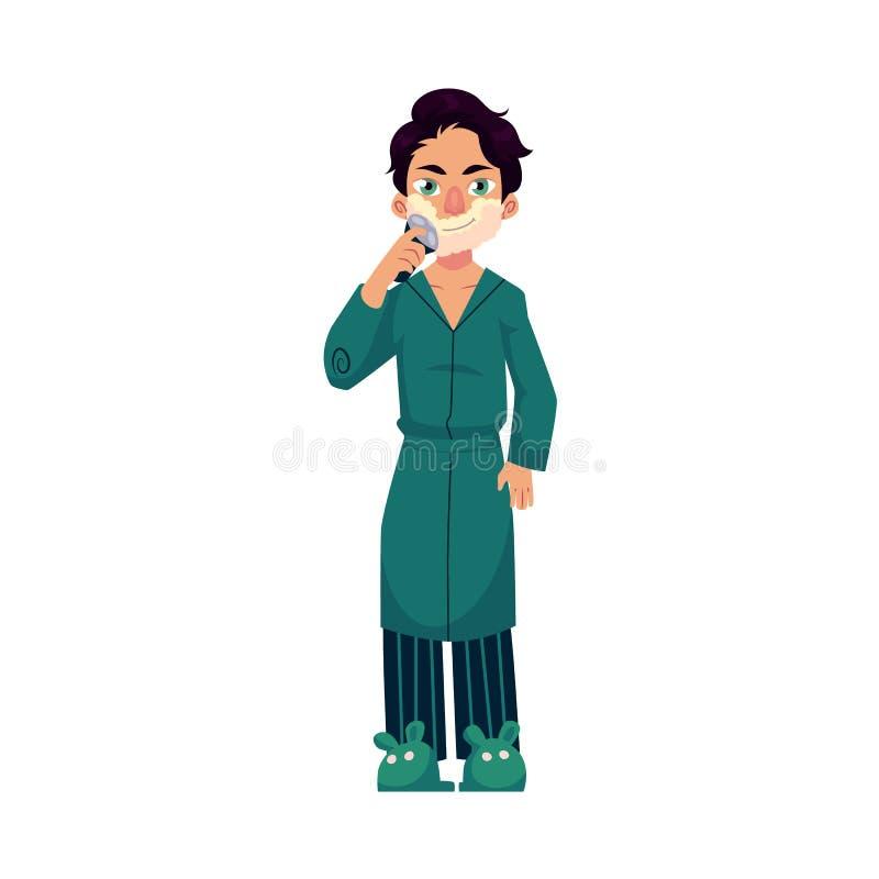 Jeune homme dans le peignoir et des pyjamas rasant la barbe illustration stock