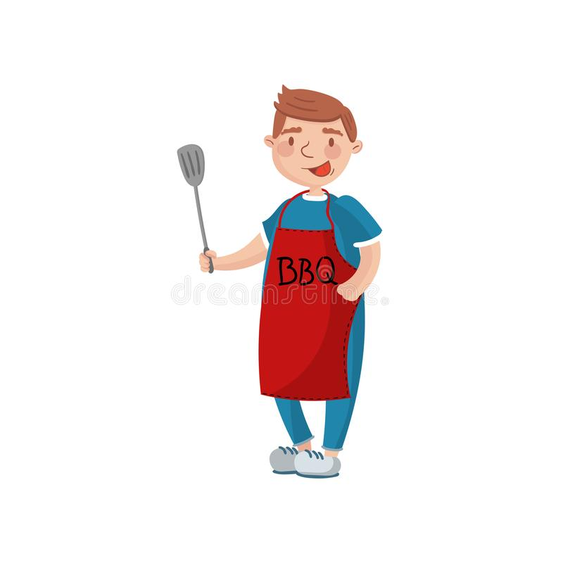 Jeune homme dans le tablier rouge avec la spatule, homme faisant cuire une illustration de vecteur de bande dessinée de barbecue illustration libre de droits