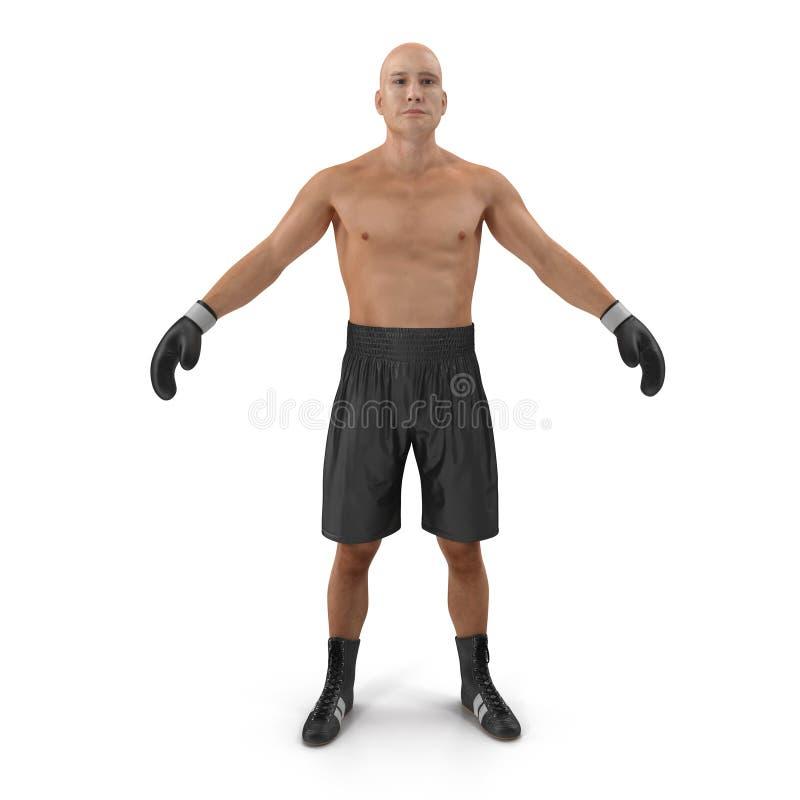 Jeune homme de boxeur de plein corps au-dessus de blanc illustration 3D illustration de vecteur