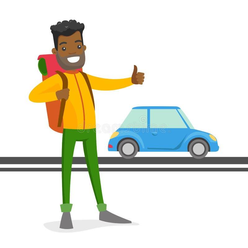 Jeune homme de couleur essayant d'arrêter un taxi illustration de vecteur