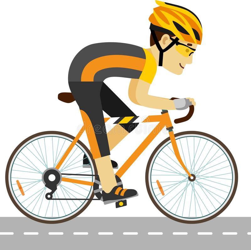 Jeune homme de emballage de cycliste avec le vélo dans le style plat illustration de vecteur