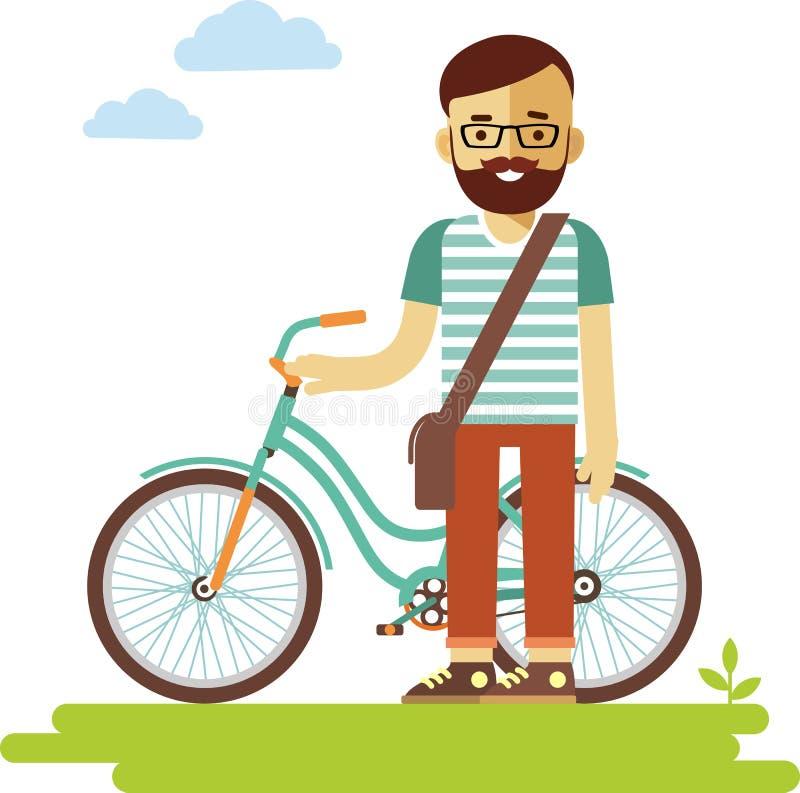 Jeune homme de hippie de cavalier de bicyclette avec le vélo dans le style plat illustration stock