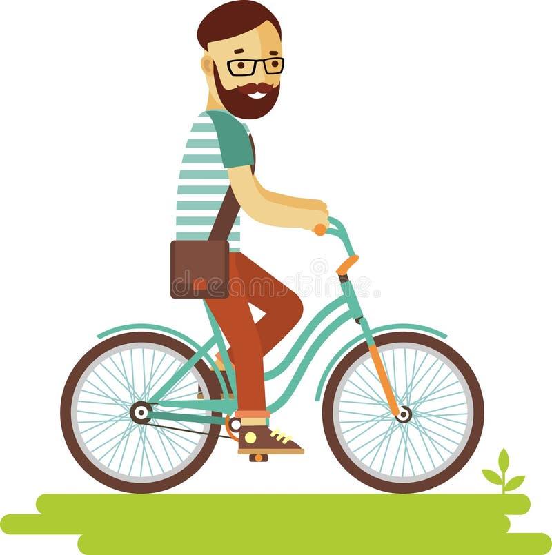Jeune homme de hippie de cavalier de bicyclette avec le vélo dans le style plat illustration libre de droits
