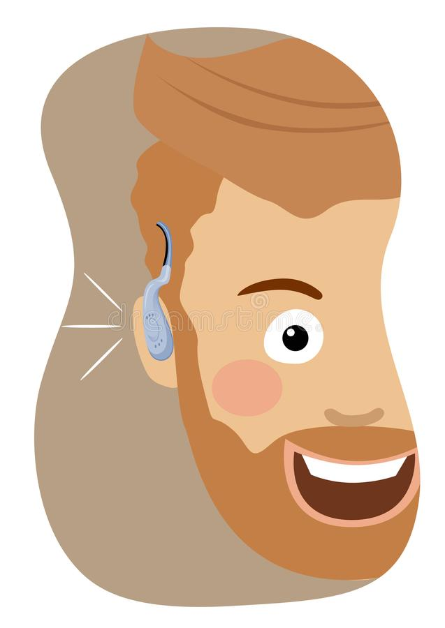 Jeune homme de hippie portant un sourire de prothèse auditive illustration stock