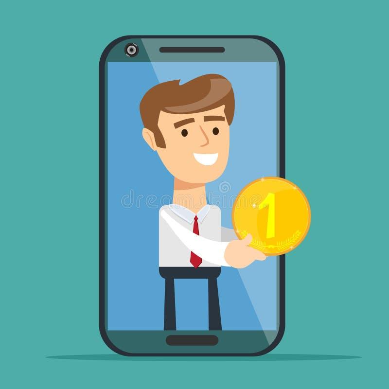 Jeune homme de l'écran de smartphone donnant la pièce d'or, d'isolement sur le fond Concept de service bancaire illustration de vecteur