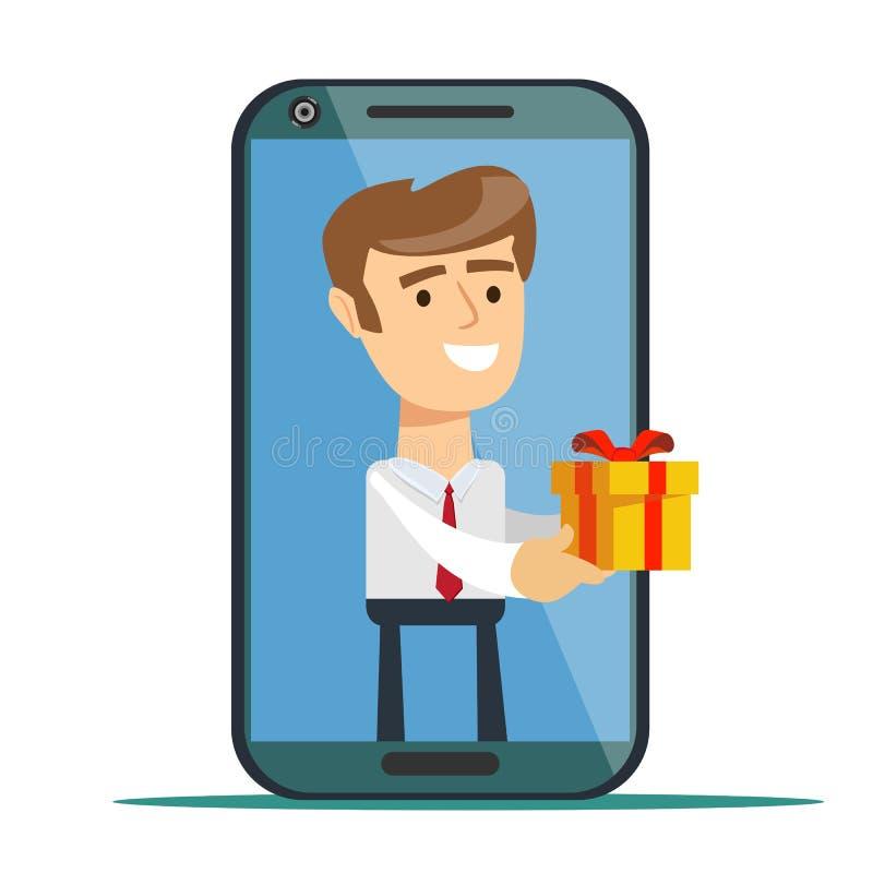 Jeune homme de l'écran de smartphone envoyant la boîte actuelle d'isolement sur le fond illustration de vecteur