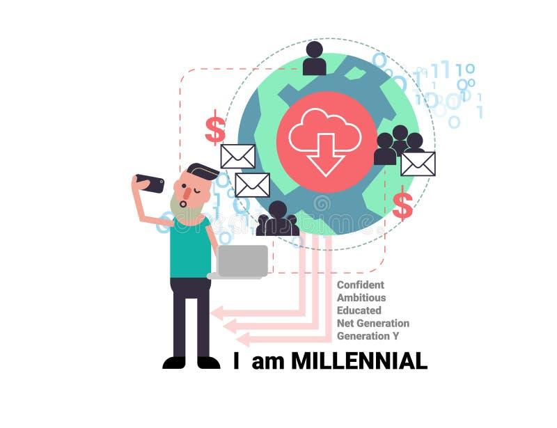 Jeune homme de Millenial prenant le selfie avec des affaires sociales de réseau illustration libre de droits