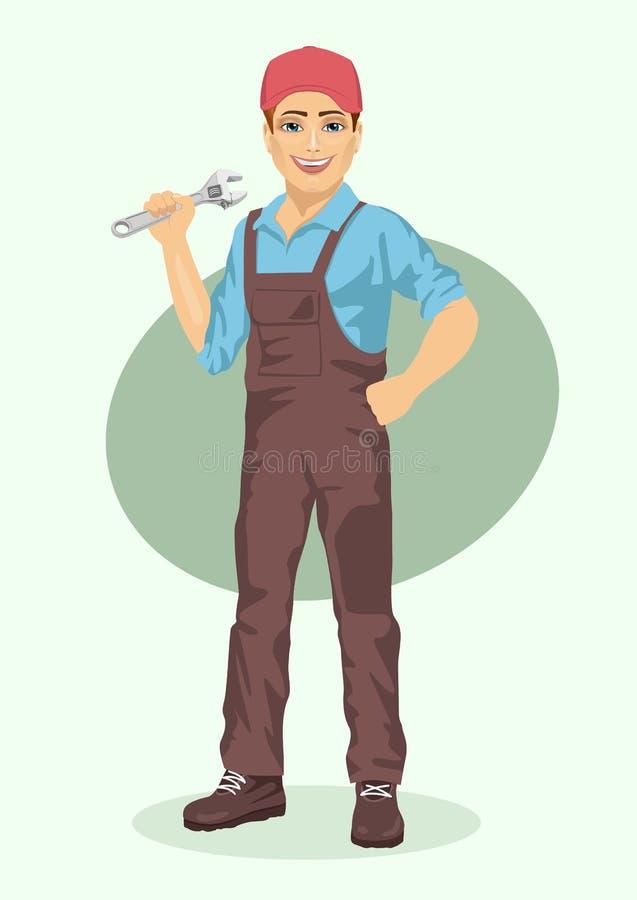 Jeune homme de plombier ou de mécanicien avec la clé illustration libre de droits