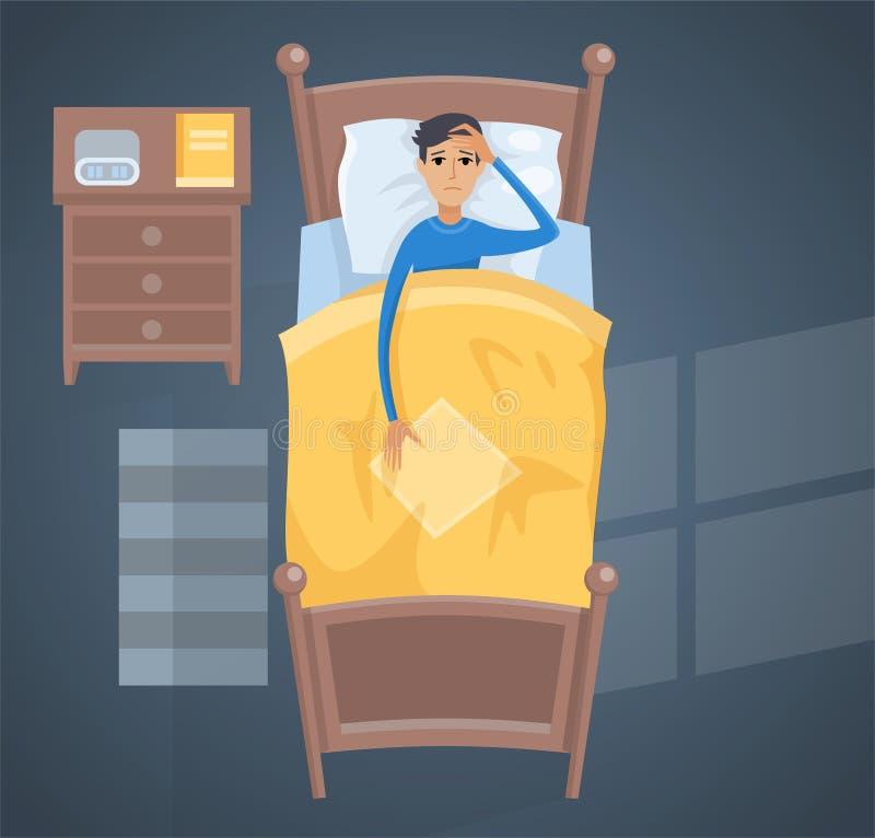 Jeune homme de sommeil dans l'illustration de vecteur de lit illustration de vecteur