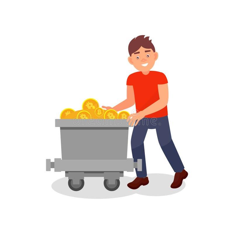 Jeune homme de sourire avec le chariot à exploitation complètement des bitcoins, illustration de vecteur de technologie minière d illustration stock
