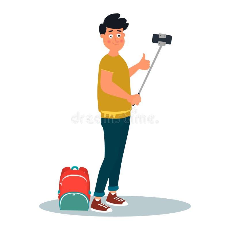 Jeune homme de sourire avec le sac à dos tenant et prenant la photo de selfie à son téléphone intelligent Illustration de vecteur illustration stock