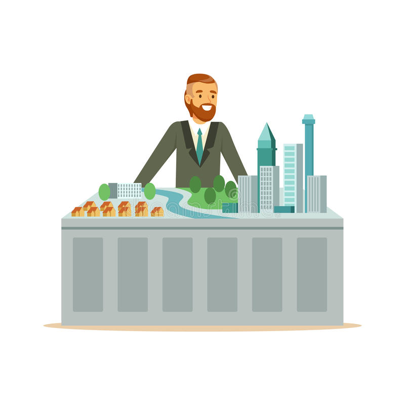Jeune homme de sourire d'architecte présent le modèle du plan de ville, illustration colorée de vecteur de caractère illustration stock