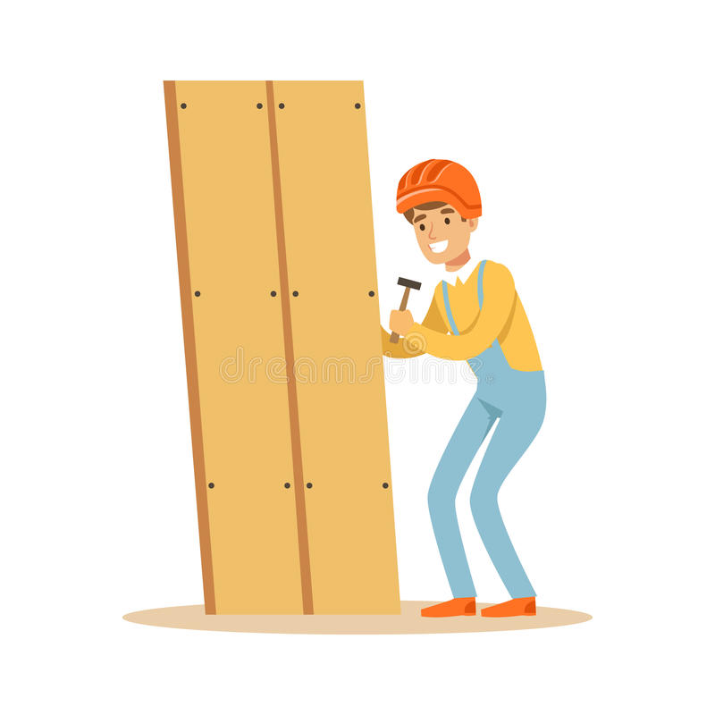 Jeune homme de sourire de charpentier construisant de nouveaux meubles, illustration de vecteur de caractère de travailleur du bo illustration libre de droits