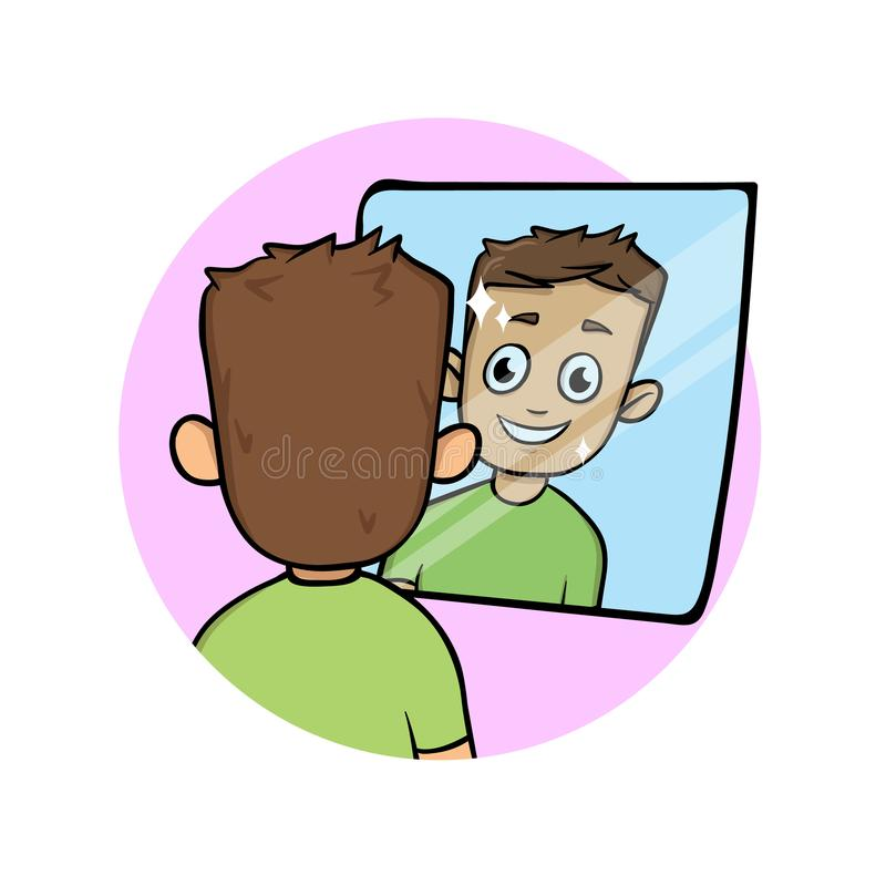 Jeune homme de sourire regardant sa réflexion dans le miroir Illustration plate de vecteur D'isolement sur le fond blanc illustration libre de droits
