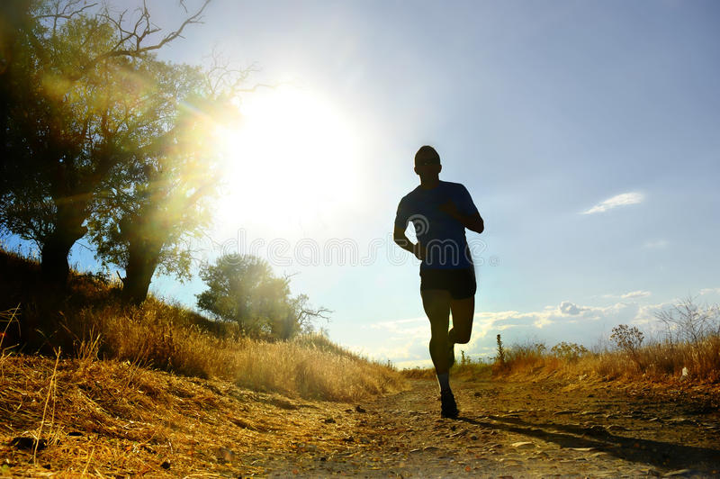 Jeune homme de sport de silhouette avant courant la séance d'entraînement de pays croisé au coucher du soleil d'été photographie stock libre de droits