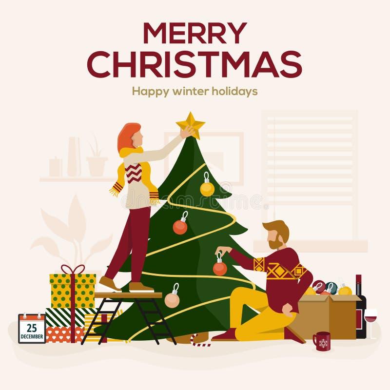 Jeune homme et femme décorant l'arbre de Noël avec des babioles et des ornements Famille ou groupe heureuse d'amis se préparant a illustration de vecteur