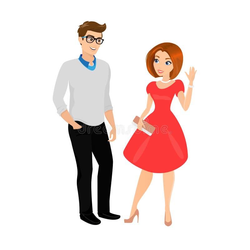Jeune homme et femme d'isolement illustration de vecteur