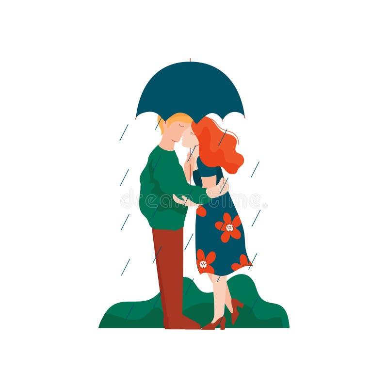 Jeune homme et femme embrassant et embrassant sous le parapluie, couple romantique marchant sous la pluie, amants heureux sur le  illustration de vecteur