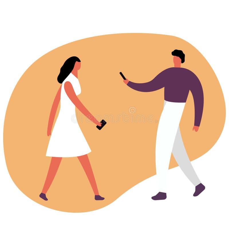 Jeune homme et femme Garçon millénaire caucasien et fille rousse attirante avec le téléphone, agissant l'un sur l'autre sur des m illustration stock