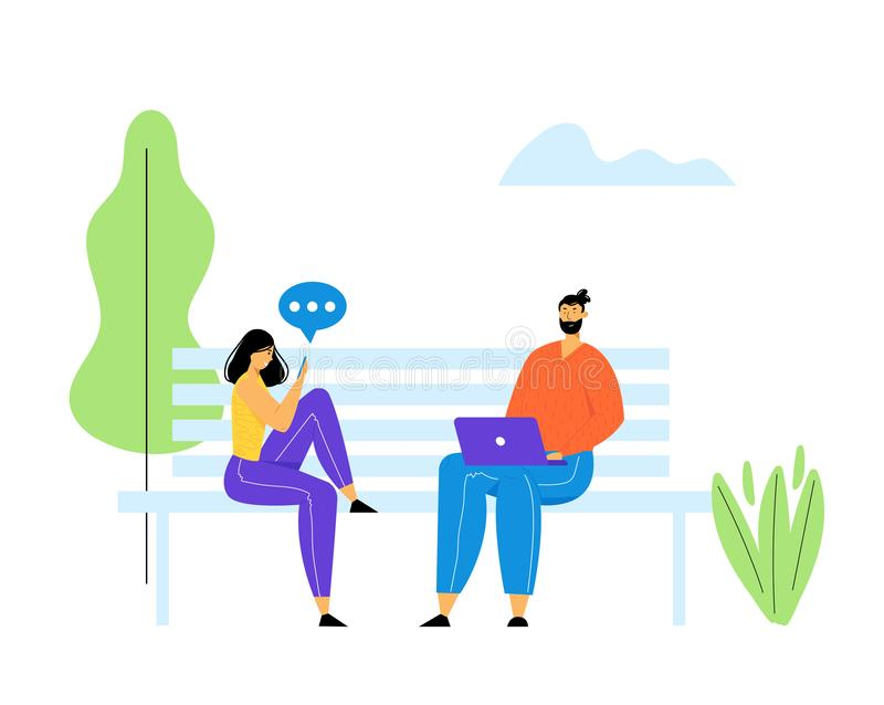 Jeune homme et femme s'asseyant sur le banc en parc avec l'ordinateur portable et le Smartphone dans des mains et communiquant en illustration stock