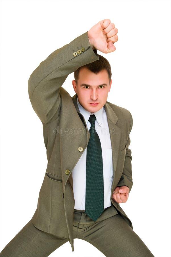 Jeune homme fâché d'affaires photo stock