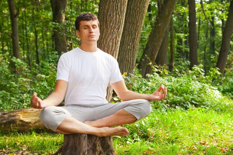 Jeune homme faisant le yoga (pose de lotus) en parc photo stock